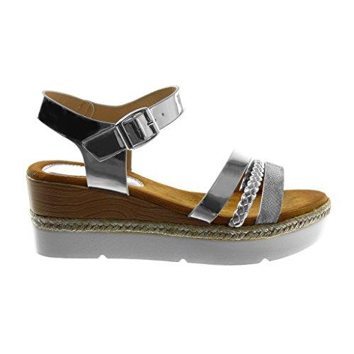 1a0caedd68af38 Chaussure Talon Argent bride 5 Tréssé Plateforme 6 Sandale Mule Multi  Compensé Mode Basket Cheville Cm Angkorly Femme ...