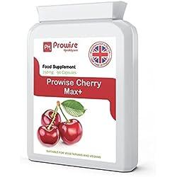 Cereza - Prowise Cherry Max 750 mg 90 cápsulas - Cerezas secas congeladas de alta resistencia Montmorency - Reino Unido Fabricado para GMP de alta calidad consistente - Apto para vegetarianos y veganos