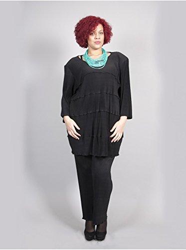 Vêtement Femme Grande Taille Tunique Plisée Edmond Boublil Noir Noir