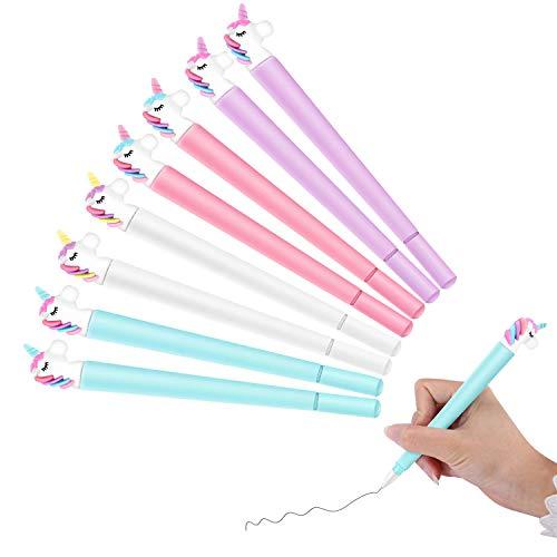 Luckieuor, set di 8 penne a inchiostro liquido, a forma di unicorno, per ufficio, scuola, regali, per ragazzi e ragazze, festa di Natale, penna a sfera da 0,5 mm