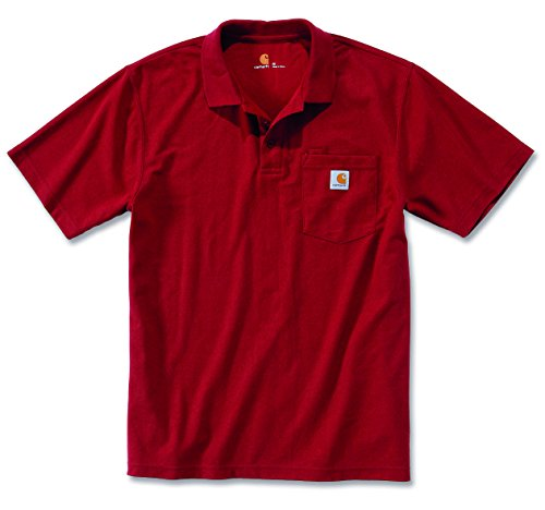 Carhartt Workwear T-Shirt Contractor´s Work Pocket Polo - Dark Red (L) (Logo Rib)