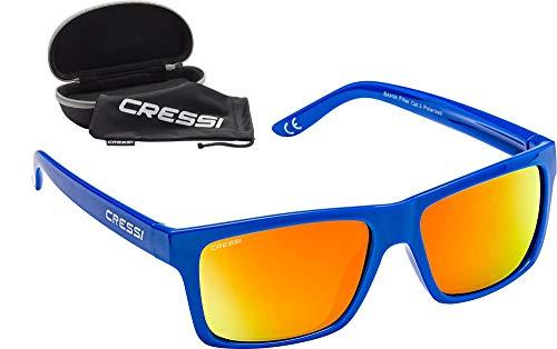 Cressi Unisex- Erwachsene Bahia Sunglasses Sport Sonnenbrillen, Royal Blau/Spiegel Linse Orange, One Size