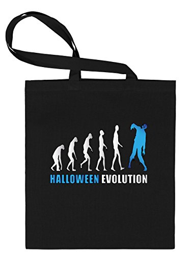 Golebros Halloween Evolution 5901 Süßigkeiten Bonbons Tasche Stoffbeutel Tragebeutel Beutel Kinder Schwarz Aufdruck Blau