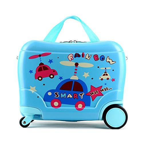 Kinder Koffer Schüler und Mädchen Cartoon Koffer können verwendet werden, um das Baby niedlichen Trolley Case 17 Zoll zu reiten (Farbe : Blau, größe : L) -