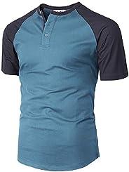 H2H Men's Casual Slim Fit Henley T-Shirt Short Raglan Sleeve T-S