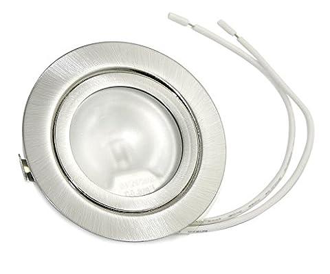 Set Möbeleinbauleuchte Farbe: Stahl gebürstet | 12Volt AC G4 20Watt Leuchtmittel inklusive (dimmbar) | Bohrloch: 55-60mm - Außendurchmesser: 71mm - Einbautiefe: 20mm | Leuchtmittel austauschbar - auch für LED G4 Lampen