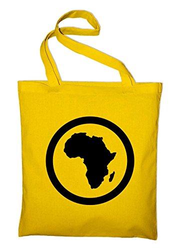 Afrika Kontinent Jutebeutel, Beutel, Stoffbeutel, Baumwolltasche, gelb Gelb