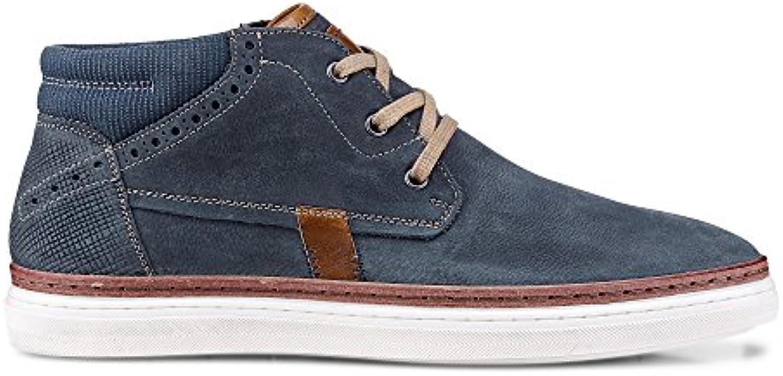 Cox Herren Herren Trend Boots aus Leder  Sportliche Kurzschaft Stiefel in Blau mit Flexibler Laufsohle Blau Leder 44