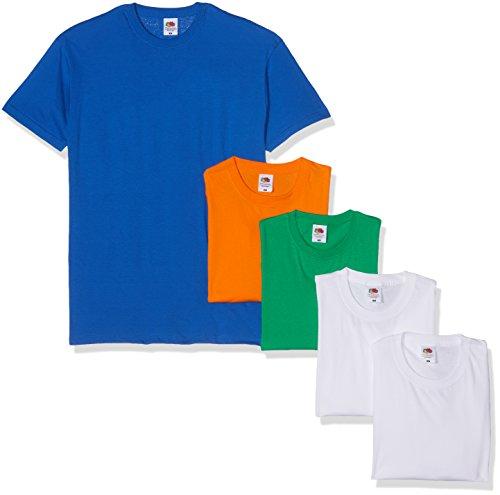 Fruit of the Loom Herren Valueweight 5 Pack T-Shirt, Mehrfarbig White/Kelly Green/Royal/Orange 30/30/47/51/44, Large (5erPack -