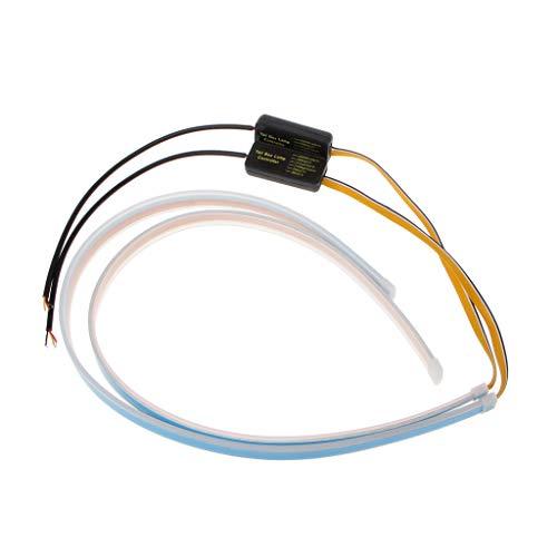 Runrain Impermeabile luci diurne Auto Faro LED Ultra Sottile e Flessibile, Segnale di girata DRL 45cm