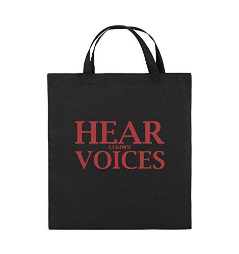 Comedy Bags - HEAR VOICES - LEGION - Jutebeutel - kurze Henkel - 38x42cm - Farbe: Schwarz / Pink Schwarz / Rot