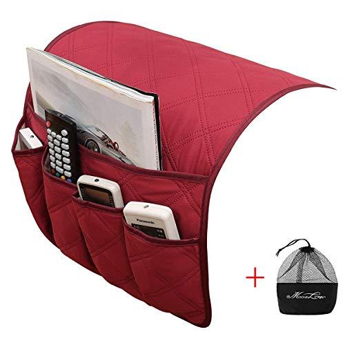 IPENNY Couch Sofa Armlehne Organizer Stuhl TV Fernbedienung Halterung Bett Storage Tasche für Handy Tablet Notizblock Buch Zeitschriften DVD, Tränke Snacks Halter Tasche Red (5 Pockets) Red 5 Gadgets
