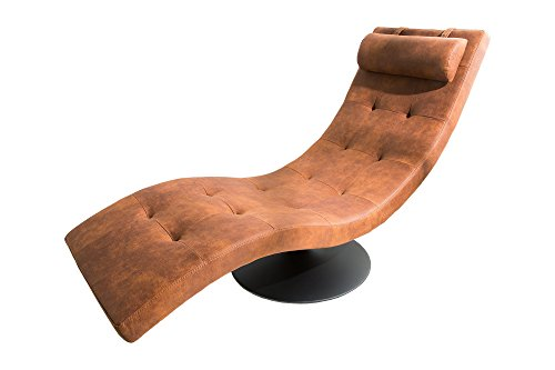 DuNord Design Relaxliege Recamiere Vintage braun Chaiselounge Design Liege Liegesessel LIGNANO Loungeliege mit Nackenkissen