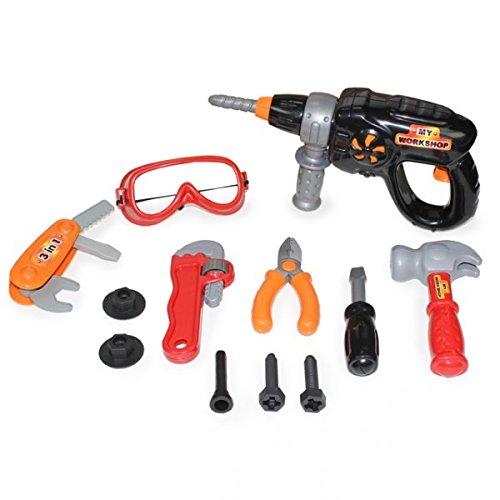 Kinder Werkzeug Set 12tlg mit Bohrmaschine Schutzbrille uvm Kinderwerkzeug Werkzeugkoffer