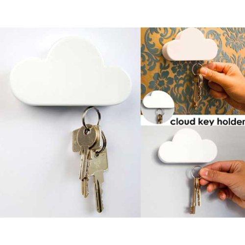 BestOfferBuy Portachiavi Magnetico da Parete Bianco a Forma di Nuvola Arredamento Casa