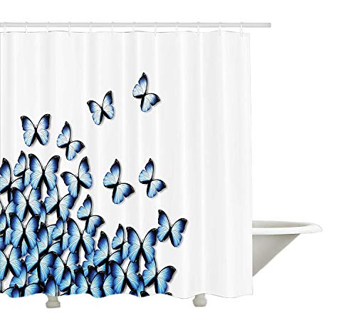 Yeuss Schmetterlinge Dekoration Kollektion, Schmetterlinge unten Linke Ecke fliegen Tropische lebendige Farbe Monarch Wings Bild, Polyester-Bad-Duschvorhang aus Bad, blau