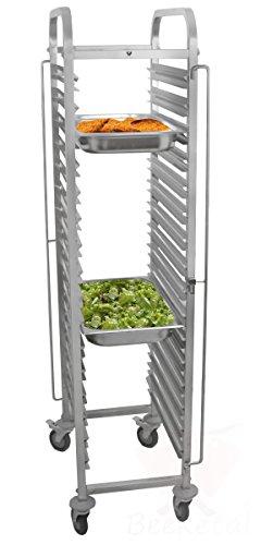 Beeketal \'BTW-16\' Gastro Tablettwagen für bis zu 16 GN Behälter (Regal bis 224 kg belastbar), Edelstahl Speise Transportwagen mit kugelgelagerten und geräuscharmen 360° Rollen, 2 x mit Feststellbremsen, Passend für Gastro-Norm 1/1, 1/2, 1/3 und 2/3 Behälter