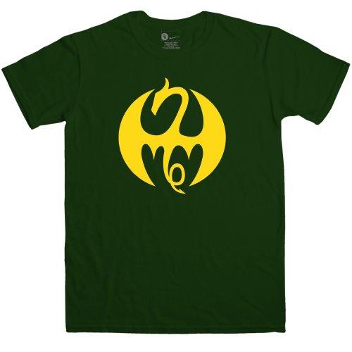 Refugeek Tees - Herren Superhero Fist Dragon T Shirt - Large - Green