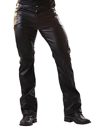 Pantaloni classici taglio jeans similpelle - 32 Nero Tutte le tg.