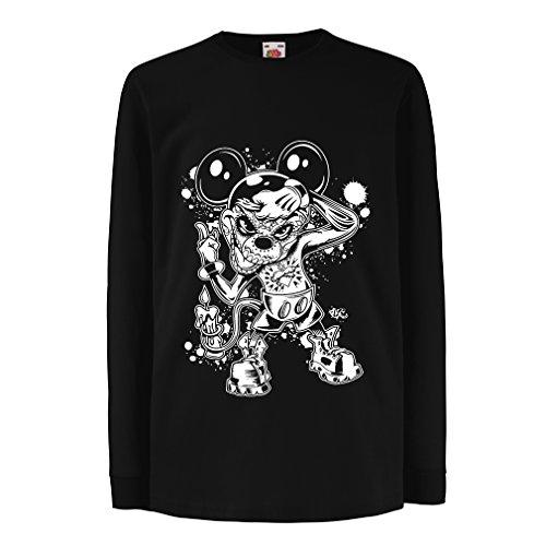 Diy Hund Superhelden Kostüme (Kinder-T-Shirt mit langen Ärmeln a mouse with an amazing Halloween costume -party outfits (9-11 years Schwarz)