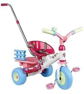 Coloma 838-37 Baby Princess - Triciclo en color rosa, blanco y azul con barra de empuje Importado de Alemania