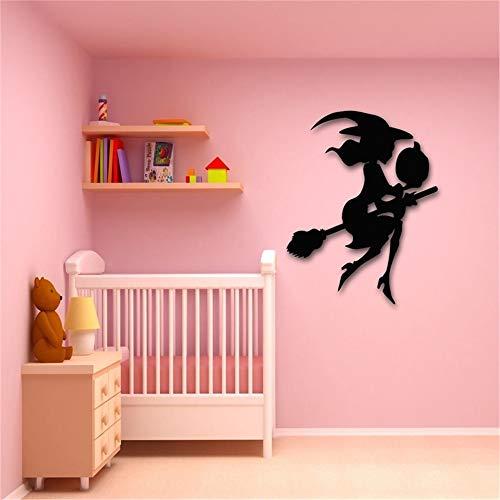 Wandtattoo Kinderzimmer Wandtattoo Wohnzimmer Aufkleber Hexenbesen Halloween Undead Horror Pumpkin für Mädchen Schlafzimmer Wohnzimmer