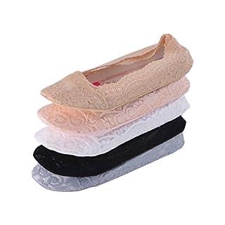 Tuopuda 5 Paar Damen Füßlinge Ballerina Socken Spitzen-Füßlinge Sommer Socken mit Rutschfeste Silikon