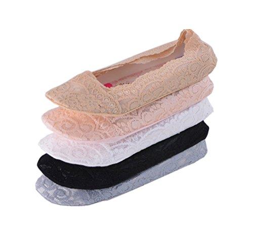 Damen Unsichtbare Sneaker Socken Damen Füßlinge aus Baumwolle kurze Socken mit Rutschfestem Silikon, 5 Paar
