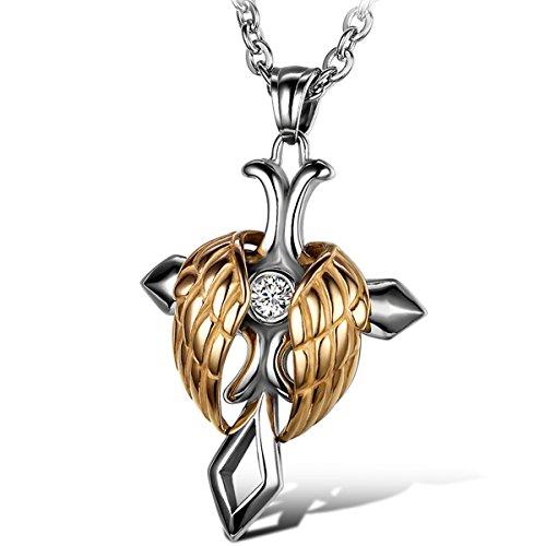 Oidea Herren Damen Anhänger mit Halskette, Edelstahl Engelsflügel Kruzifix Kreuz Anhänger mit 55cm Kette Halsband, Gold Silber
