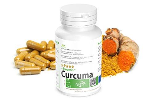 Abnehmen mit Kurkuma Piperin Diät: 90 vegetarische Kapseln mit BioPerine Hochdosiert - Curcuma plus Bioperine verbesserte Bioverfügbarkeit .- Vegan - Garantiert Glutenfrei -