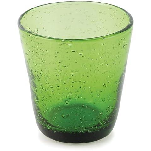 Villa d'Este Home Tivoli Home 2163458 Cancun Bicchiere da Acqua in Vetro Soffiato a Bocca, Verde Intenso