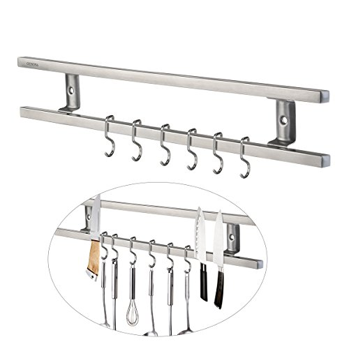 OUNONA Edelstahl Magnet Messerhalter Magnetleiste Magnetischen Wand Montierten Messer Rack Mit 6 Entfernen Haken (Küche Messer Magnetleiste)
