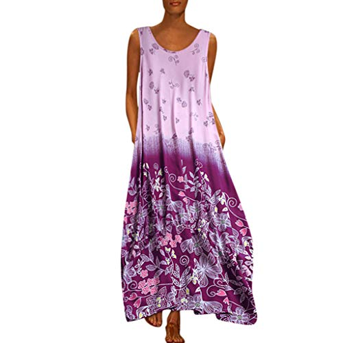 MAYOGO Kleid Damen Sommer Lang Elegant Schick Große Größen Ärmellose Maxikleid Schmetterling Muster Casual Cool Leichte Kleider mit Tasche S-5XL - Chiffon Kleid Im Empire-stil