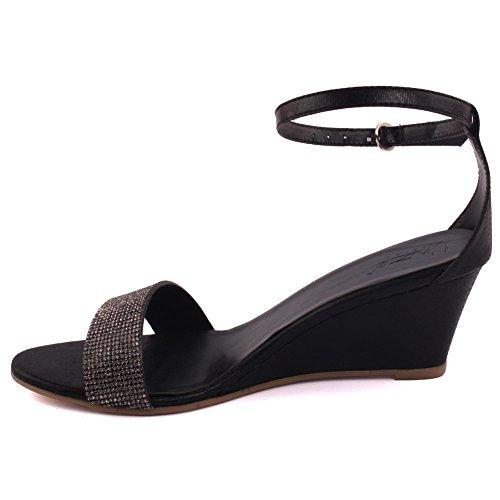 Unze Neue Frauen Damen STARK Diamante verschönert Abend Party Karneval Prom Slingback Wedge Sommer Sandale Schuh UK Größe 3-8 - 2257 Schwarz