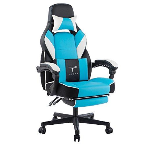 Topsky hohe Rückenlehne Racing Stil PU-Leder Executive Computer Gaming Bürostuhl Ergonomisches liegendes Design mit Lendenkissen Fußstütze und Kopfstütze (Blau) Paket MEHRWEG