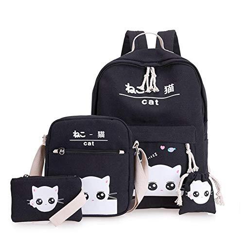 pretty-H 4 Teile/Satz Rucksäcke Cartoon Niedlich Leinwanddruck Ausdruck Katze Koreanische Version Campus Student Taschen Umhängetaschen