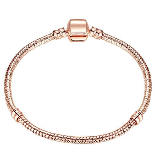 Armreif mit Kette, High Quality 17-21Cm Silver Snake Chain Link Bracelet Fit European Charm Brand Bracelet For Women DIY Jewelry Making Rose Gold Color 21cm