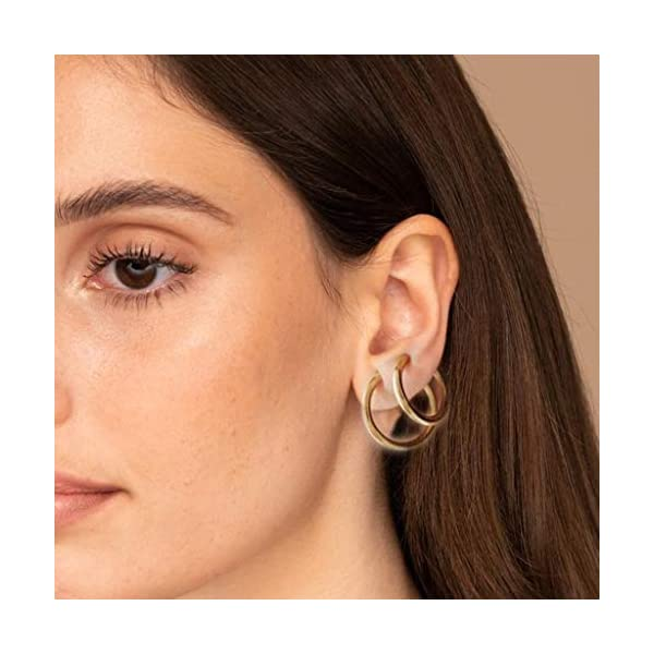 2 Pcs Fake Stud Earrings Clip On Piercing Body Nose Lip Rings Hoop Earrings Hypoallergenic Body Jewelry for Women Men Girls (Silver, S) JNG ✦【Simple Small Hoop Earrings Set】✦1 Pairs premium quality hypoallergenic earrings,silver and gold color, Small: 12mm diameter,Medium: 14mm diameter,Large: 16mm diameter ,multi-size meet your daily needs. ✦【Material】✦ Stainless Steel.Don't worry about the irritation and rashes. ✦【Multi-Purpose to Wear】✦The endless small hoop earrings set can be used for cartilage, nose, lips, ears and body piercings for single or multiple holes. 4
