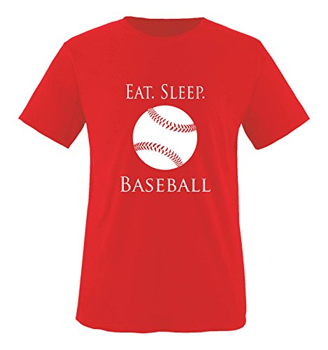 Comedy Shirts - EAT. SLEEP. BASEBALL - BALL - Herren T-Shirt - Rot / Weiss Gr. M (Ringspun-baseball-t-shirt)