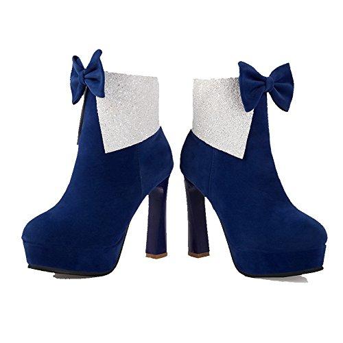 VogueZone009 Donna Pelle Di Mucca Alla Caviglia Puro Cerniera Tacco Alto Stivali con Cappio Azzurro