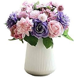 Unechte Blumen,Künstliche Deko Blumen Gefälschte Blumen Seidenrosen Plastik Dahlie Braut Hochzeitsblumenstrauß für Haus Garten Party Blumenschmuck 8 Zweig 10 Köpfe (Bunt)