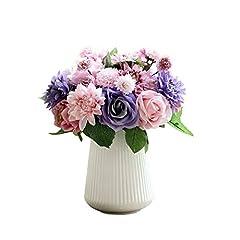 Idea Regalo - Fiori Bouquet Rosette Artificiali in Plastica di Seta Matrimonio Nuziale per la Decorazione del Partito di Giardino Domestico 8 Rami 10 Teste