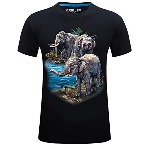 XuanhaFU Camiseta Hombre de Verano, Moda Hombres Elefante de Impresión Camisetas Camiseta de Manga Corta Blusa Tops de Talla Grande (Negro,XXXXXXL)