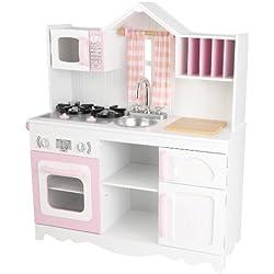 KidKraft 53222 Cocina de juguete Modern Country de madera para niños de estilo campestre - Rosa y blanco