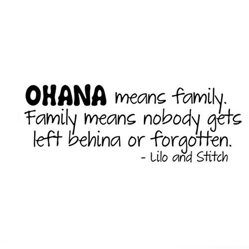 joyliveCY Ohana means family Lilo y Stitch Cita de pared vinilo adhesivo pegatina de decoración para el hogar