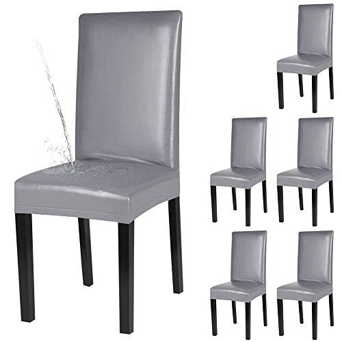 YISUN 4er/6er Set Esszimmer Stuhlhussen, solide Pu Leder wasserdichte Stretch Esszimmerstuhl Schutzhülle- 6 Stück