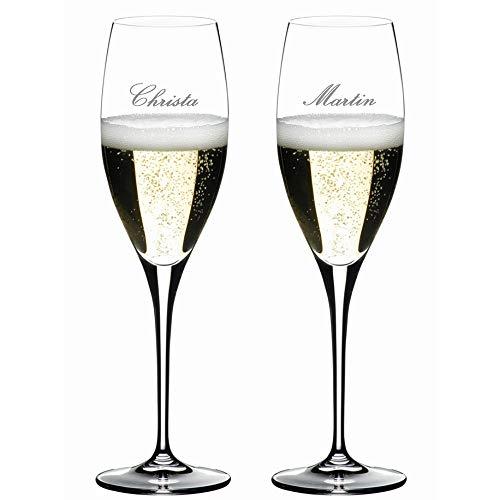 2 Champagner-Gläser MIT Gravur (z.B.Namen) Heart to Heart von Riedel, 330 ml, Sektglas, Champagner, spülmaschinenfest, Hochzeit, Verlobung