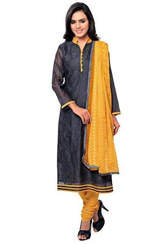 Applecreation Women's Chanderi Cotton Salwar Kameez (Grey, 2MJK2002)
