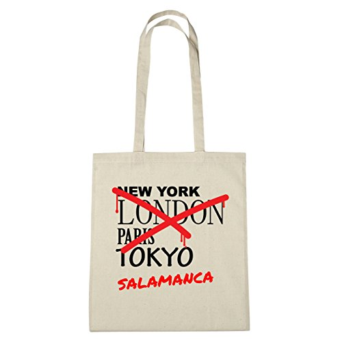 JOllify Salamanca Borsa di cotone B3634 schwarz: New York, London, Paris, Tokyo natur: Graffiti Streetart New York