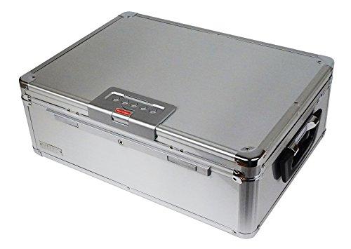 Sperren Brust (Vaultz vz01209Locking Digital Schlafsaal, Brust Secure Wertsachen, DIGITAL Zahlenschloss, reserveschlüssel, Leine, 34x 15,9x 48,3cm, silber Aluminium)